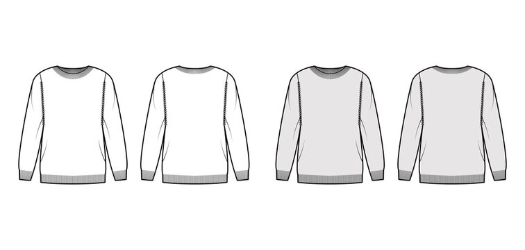Sweater technical fashion illustration with rib crew neck, long sleeves, oversized, thigh length, knit cuff trim. Flat pullover apparel front, back, white grey color style. Women men unisex CAD mockup