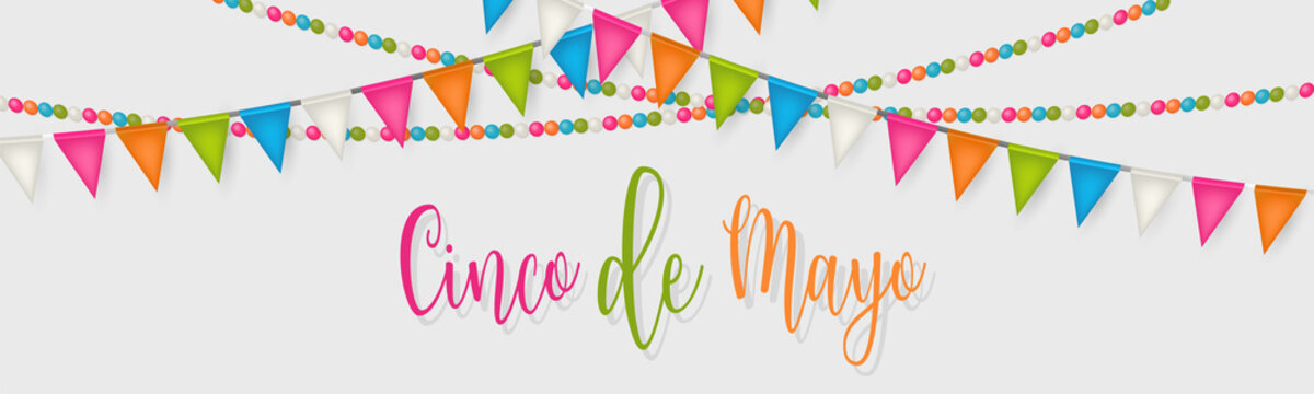 Cindo de Mayo banner or header. Colorful bunting garland and lettering. Vector illustration.