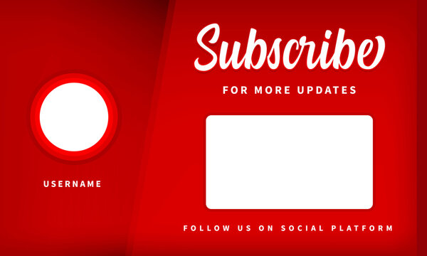Youtube End Screen Red Theme. End Screen Template. Channel Ending Screen. Video Outro Vector Illustration