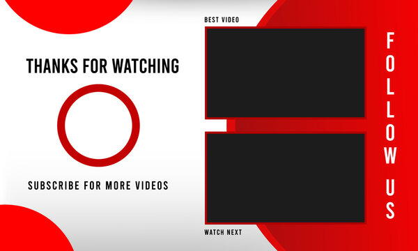 Youtube End Screen Red and White design. Geometrical Template. Outro Template. End Screen. social media design