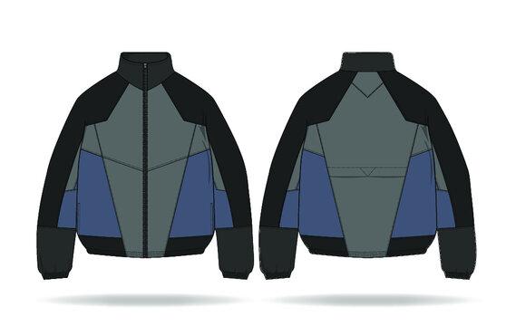 Full Zip Nylon Track Jacket Design Fashion Flat Sketch Template