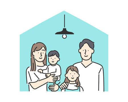 ステイホームをしている家族のイメージイラスト素材