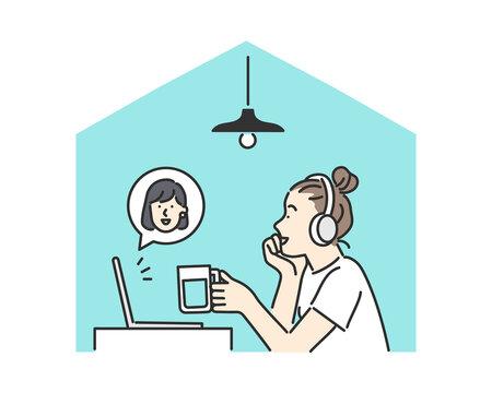 友人とオンライン飲み会をしている女性のイメージイラスト素材