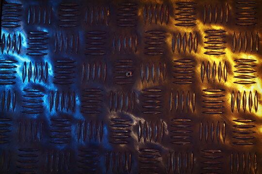 The texture of corrugated metal illuminated by blue and yellow spotlights