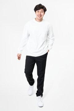 White long sleeve tee men's casual apparel