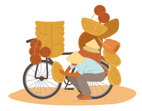 Asian Seller Wearing Traditional Conical Straw Hat Sitting Near Bike With Lots Of Wicker Baskets, Dishes And Hats. Flat Vector Illustration.