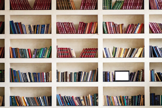 Shelves with lots of paper books and a frame in the hall
