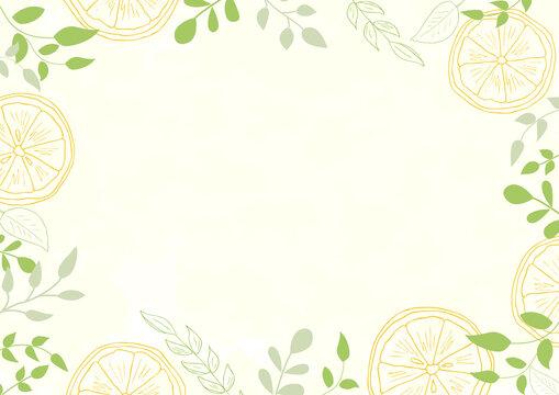 手描きのレモンと葉っぱの背景