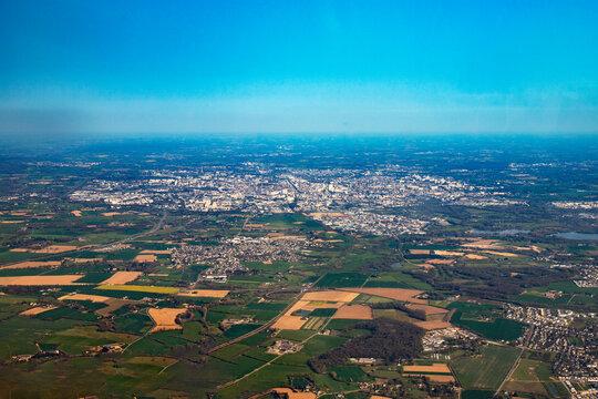 Rennes city in french britanny ville de rennes en bretagne france vue du ciel aerial view