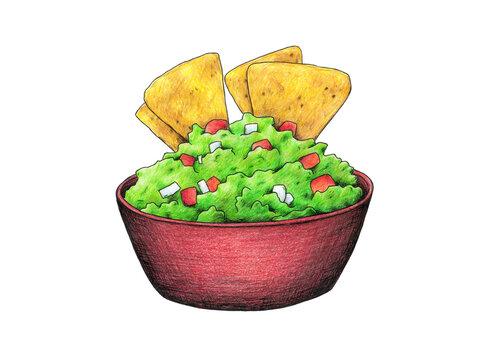 Nachos con guacamole, típico plato de la gastronomía mexicana. Ilustrado a mano