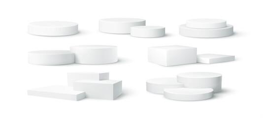 Set of realistic white blank product podium scene isolated on white background. Vector illustration - fototapety na wymiar
