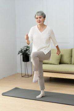 Elderly retired at home, enjoy life,Do aerobic exercise