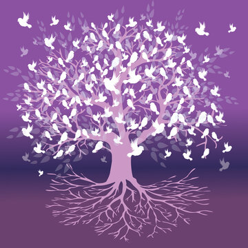 A tree of life with white birds sitting on the branches and flying around the tree. The background is a purple gradient