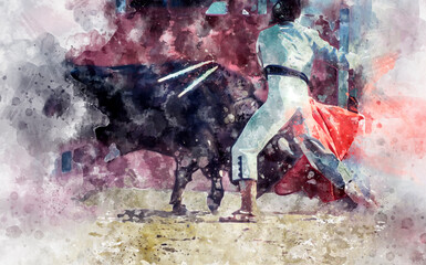 Watercolor, spectacle of bullfighting, where a bull fighting a bullfighter Spanish tradition