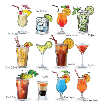 Collection of popular cocktails for the menu. Vector illustration.