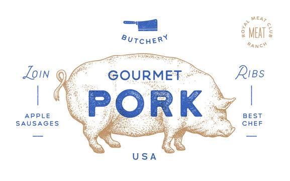 Pork, pig. Template Label. Vintage retro print