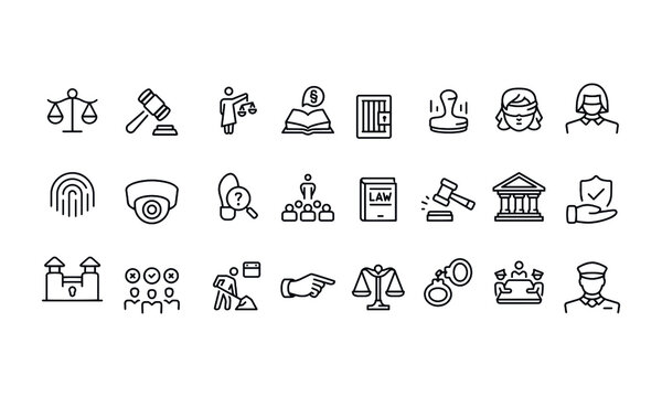 Legal System Icons. vector design