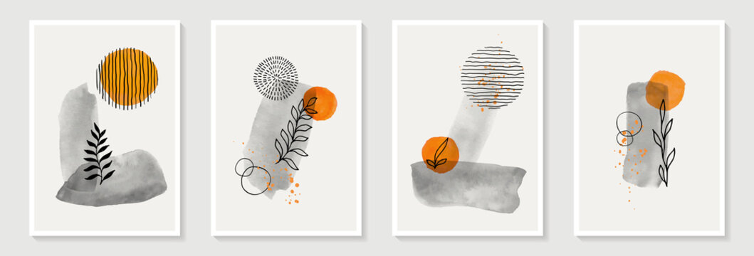 Creative minimalist hand draw Abstract art background. Modern aesthetic illustrations. Bohemian style Collection of contemporary artistic Design for wall decoration, postcard, poster, brochure