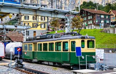Old locomotive at Lauterbrunnen railway station in Switzerland