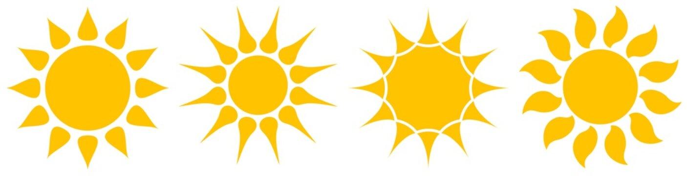 Sonne oder Sonnenschein Symbol Kollektion als Vektor auf einem weißen isolierten Hintergrund