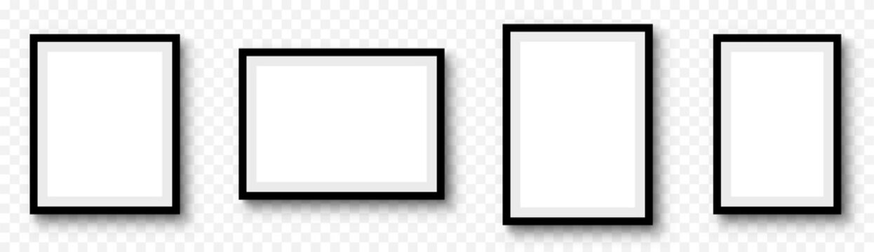 Photo frame. Picture frames set with shadow on transparent background