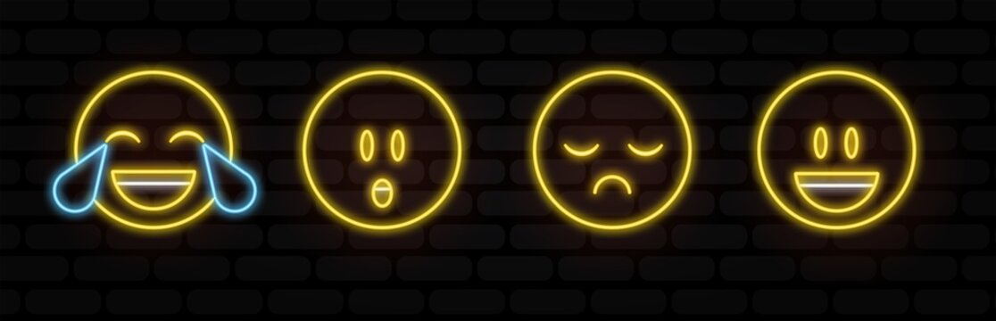 Vector Emoji neon icon set with Different Reactions Isolated on black Background. Modern Emoticons Collection in Flat Style. thin line, outline vector of web, minimalistic icons for UI and UX