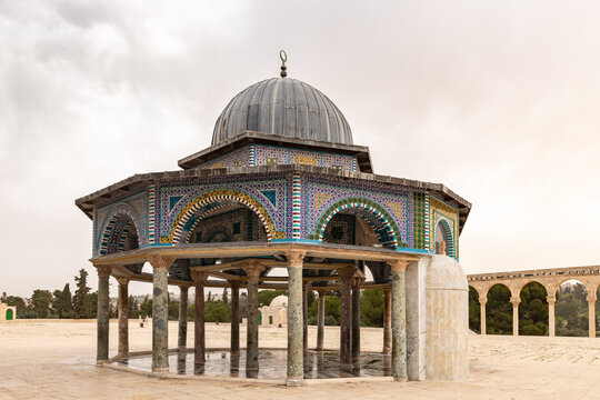 The Dome  of the Chain near to the Dome of the Rock mosque on the Temple Mount in the Old Town of Jerusalem in Israel