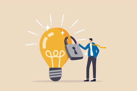 Intellectual property, patented protection, copyright reserved or product trademark that cannot copy concept, businessman owner standing with light bulb idea locked with padlock for patents.