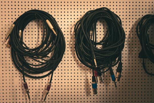 XLR cables on the wall