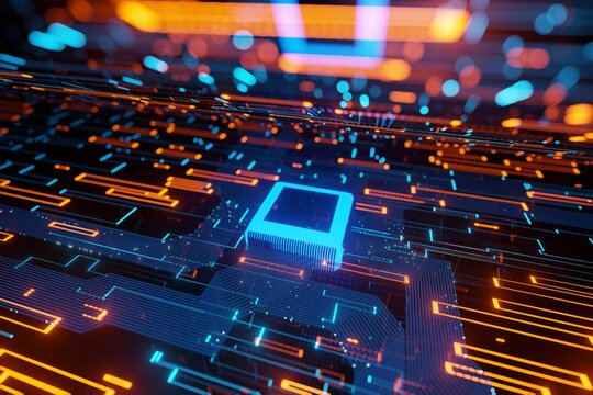 Abstract futuristic Microchip Data flow in a motherboard glowing light background 3D rendering