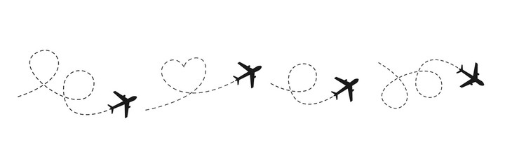 Fototapeta Airplane line path icon. Vector illustration of air plane flight route with line trace isolated on white background