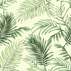 Fototapeta Jungle vector pattern with tropical leaves.Trendy summer print. Exotic seamless background.