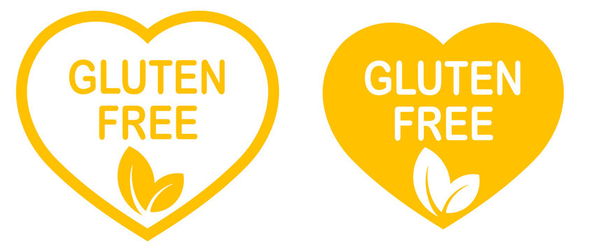 Gluten free heart-shaped stamp. Gluten intolerance. Yellow logo or label. Vector illustration
