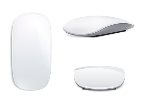 New set of Realistic Computer Mouse, 3 sides isolated on white background. Laptop trackpad, click and point. Vector EPS 10