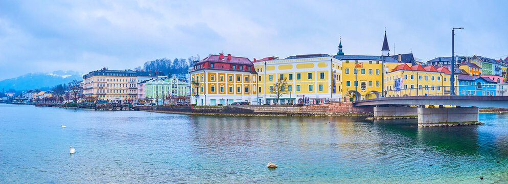 Panorama of Traunsee lake embankment, on Feb 22 in Gmunden, Austria