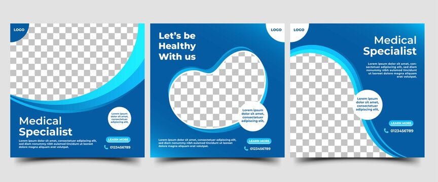 Set of Medical square banner design template. Modern banner with blue wave frame and place for the photo. Suitable for social media post, banners, signs, flyers, and websites.