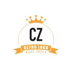 Fototapeta Initial Letter cz Circle King Logo Concept, Creative Design Logo. obraz
