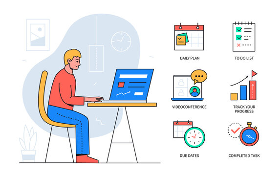 Task management - colorful flat design style poster