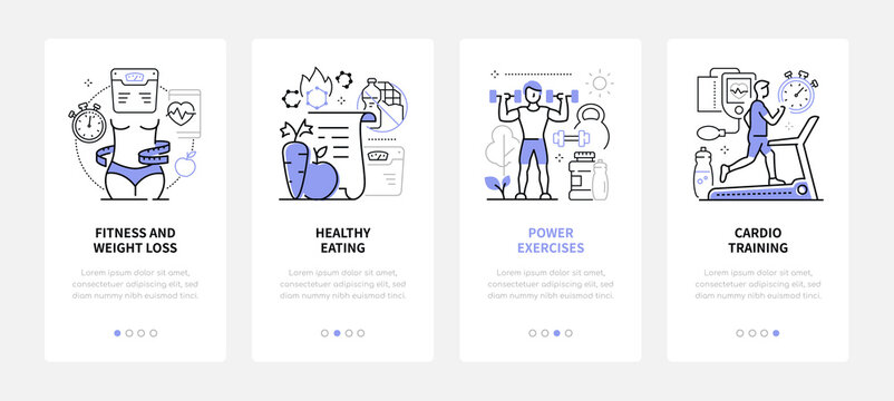 Active lifestyle - modern line design style web banners
