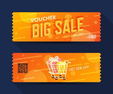 Voucher big sale coupon ticket card. discount element template for graphics design. Vector illustration