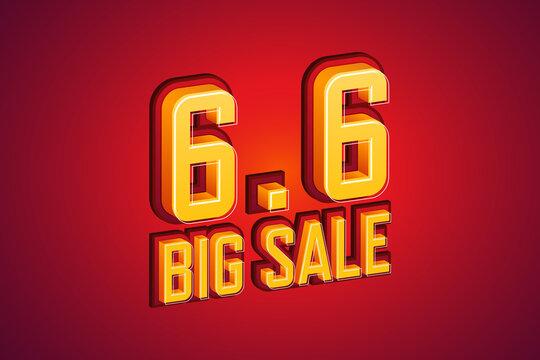 6.6 Big sale font expression pop art comic speech bubble. Vector illustration