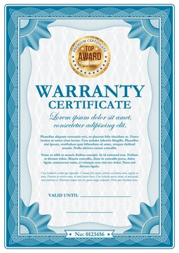 Warranty certificate with guilloches, vector wavy ornamental border. Official top award frame with golden stamp and place for valid date and signature. Paper document for company appreciation