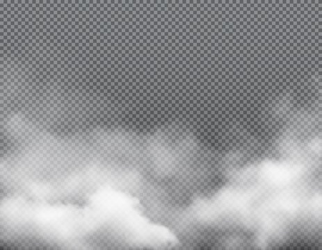 Fog smoke, mist steam clouds background, transparent white smog, vector effect. Smoke fog or spooky dust explosion of gas, magic sky vapor light or smoky powder and toxic air splash