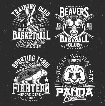 T-shirt prints armadillo, panda, beaver and porcupine vector mascots. Sport team uniform apparel design. Isolated labels with wild animals and typography, t shirt print or emblem for sport club