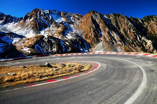 Transfagarasan winding road in the Transylvanian Alps, Romania, Europe