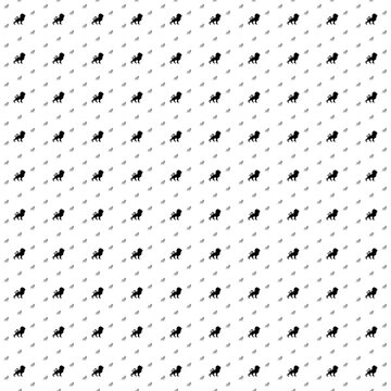 Square seamless background pattern from black lion symbols are different sizes and opacity. The pattern is evenly filled. Vector illustration on white background