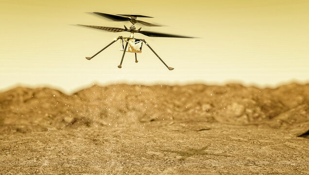 The Ingenuity drone-helicopter has separated from the Perseverance rover on Mars and prepares for its first flight. 3d render. Element of this image are furnished by NASA
