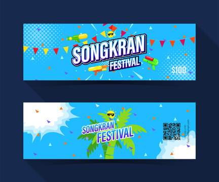 Songkran festival coupon ticket card. element template for graphics design. Vector illustration