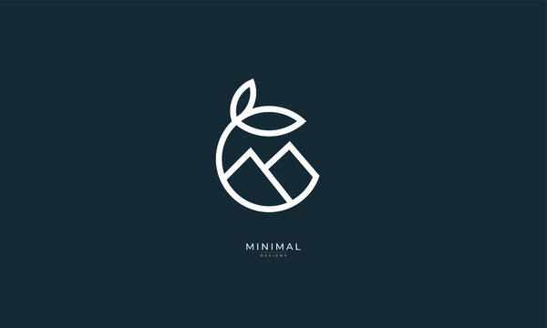 A line art icon logo of a leaf in a circle with mountains