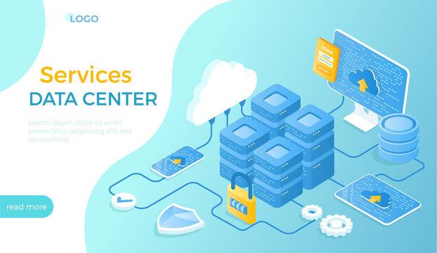 Data Center Cloud Services. Information processing, hosting, provider, storage, networking, management, distribution of data. Server racks, database, cloud. Isometric vector illustration for website.